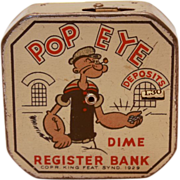 Vintage Popeye Dime Register Bank, c.1930-1940s