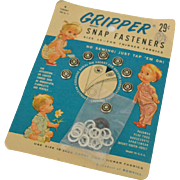 Gripper Brand Snap Fasteners on Original Card, 1950