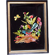 Victorian Style Tinsel Art Bird and Butterfly