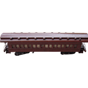 Early 1900s Hand Made Wood Railroad Passenger Car Model Red/Brown