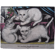 "c1850s Hand Colored Lithograph ""My Little White Kitties"""