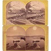 Pair 1870s Stereoviews Schroon Lake, NY by Stoddard
