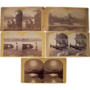 Lot of 5 1870s Adirondack Boating Stereoviews by Stoddard