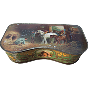 c1900-1910 Color Lithographed Tin Box w / Horses - Red Tag Sale Item