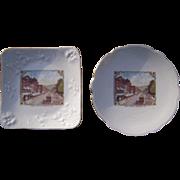 Pair Vintage Souvenir China Plates of Bradford, PA