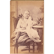 c1880s/1890s Cabinet Card of Girl and Doll