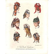 Lot of 3 Color Lithograph Fashion Prints December 1871