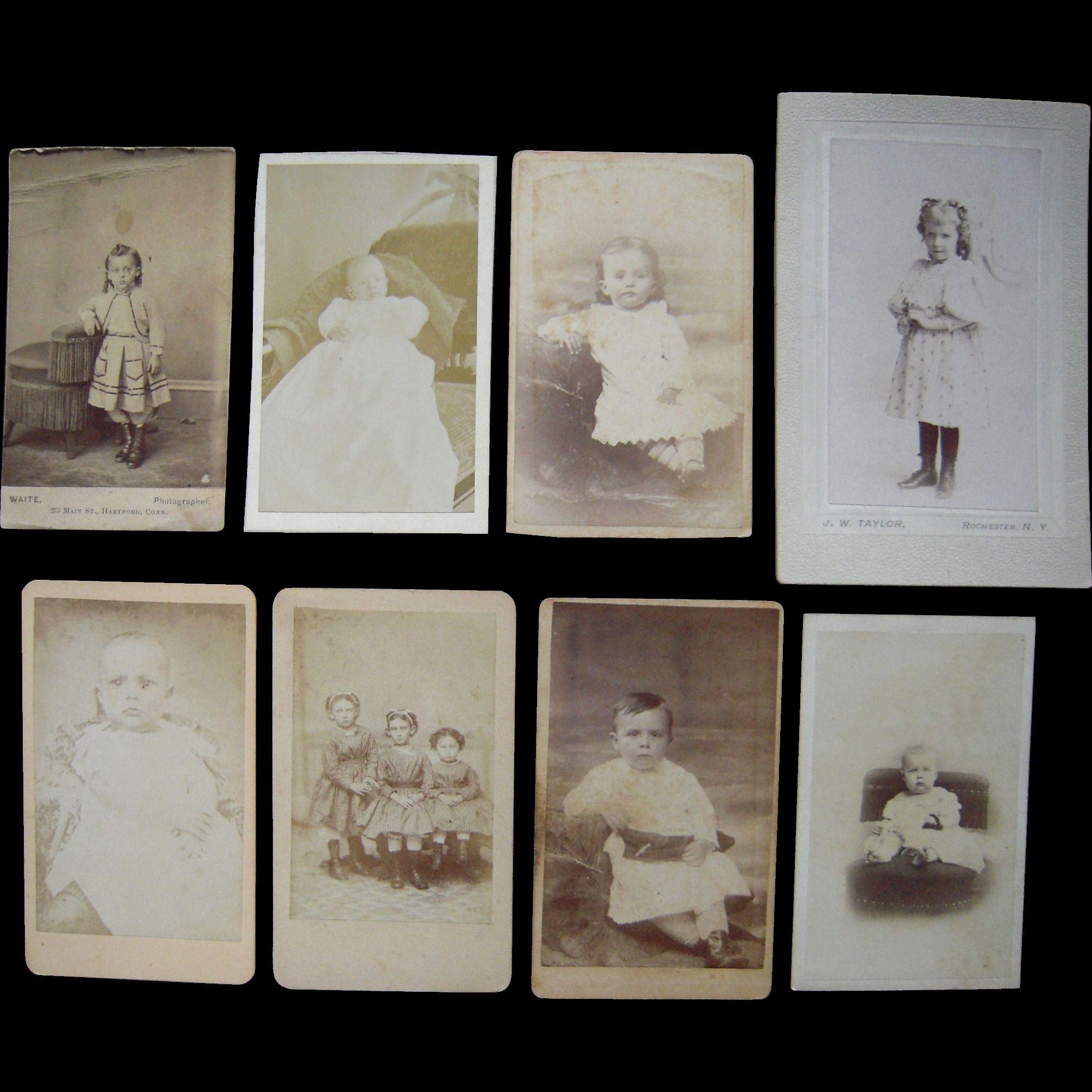 Lot Of 8 1860s Cdv Photos Of Children Plus I Small Cdv