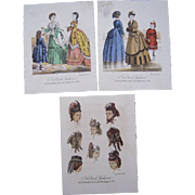 Lot of 3 Color Lithograph Fashion Plates January 1872