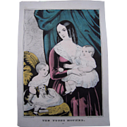 Currier & Ives Hand Colored Lithograph The Young Mother