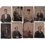 Lot of 11 Tintypes of Men