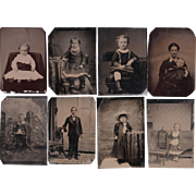 Lot of 12 Tintypes of Children, including Mother and Baby