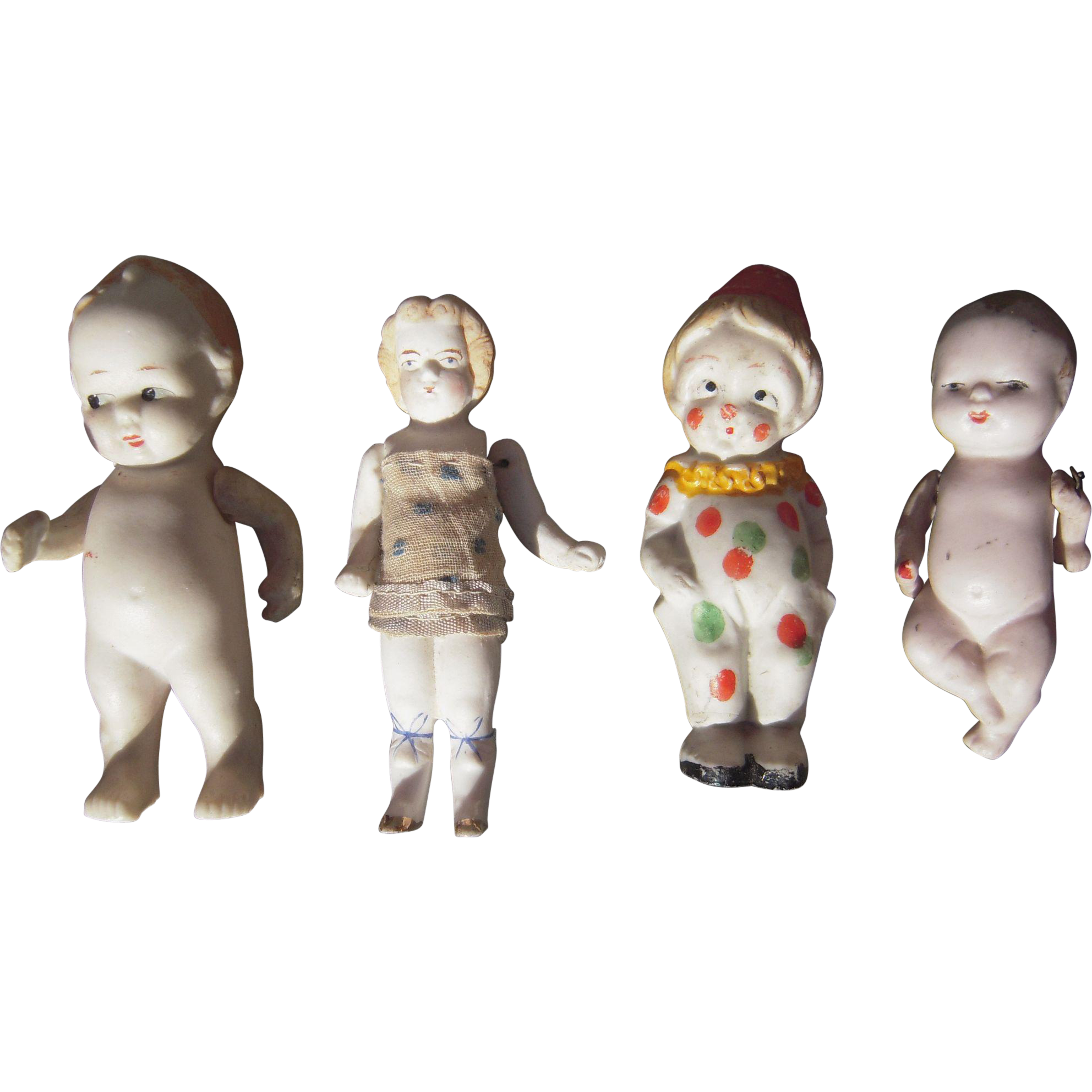 Lot Of 4 Early 20th Century Bisque Dolls Blue Spruce
