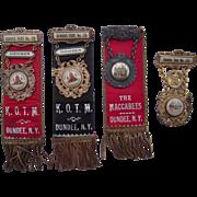 Lot of 4 c1900 Dundee, NY Knights of the Maccabees (KOTM) Ribbons/Pins