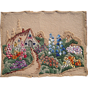 Early 20th Century Needlepoint of House