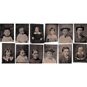 Lot of 12 1/16 Plate Tintypes of Children