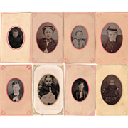 Lot of 11  1/9 Plate Tintypes of Children