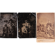 Lot 3 Tintypes and CDVs of Groups of People