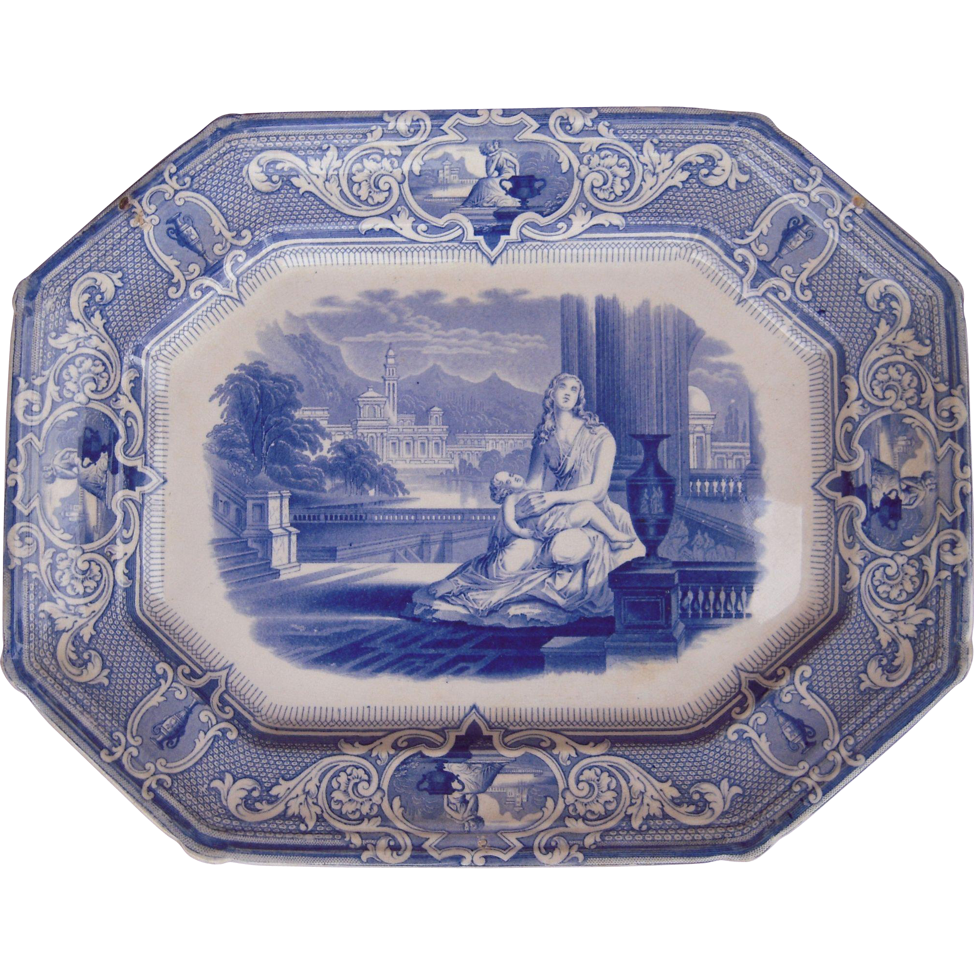 Large antique flow blue platter w woman and child from