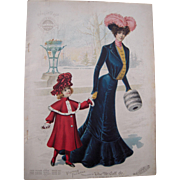 1902 Full Color Fashion Lithograph Plate from McCall's Magazine