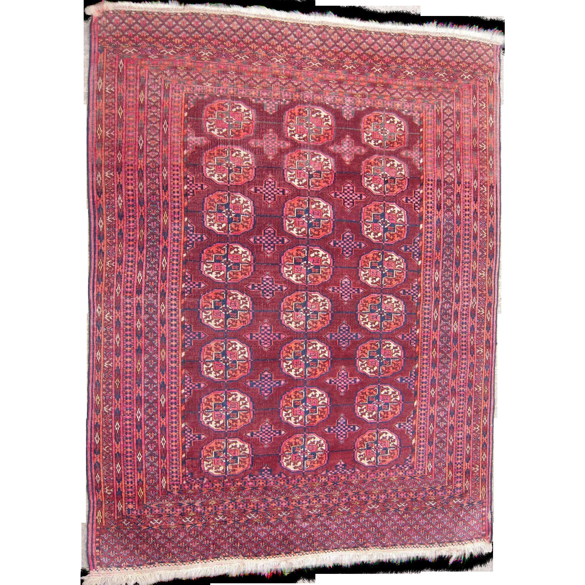 Antique Turkoman Rug: C1890s Antique Turkoman Persian Rug 4' X 5' From