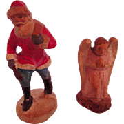 Vintage Miniature Hand Painted Composition Santa and Christmas Angel