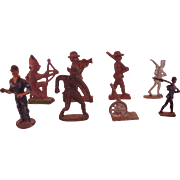 Group of 8 Vintage Miniature Hand Painted Metal Toy Soldiers Cowboys, etc