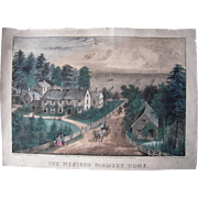 "1871 Currier and Ives Hand Colored Lithograph ""The Western Farmers Home"""