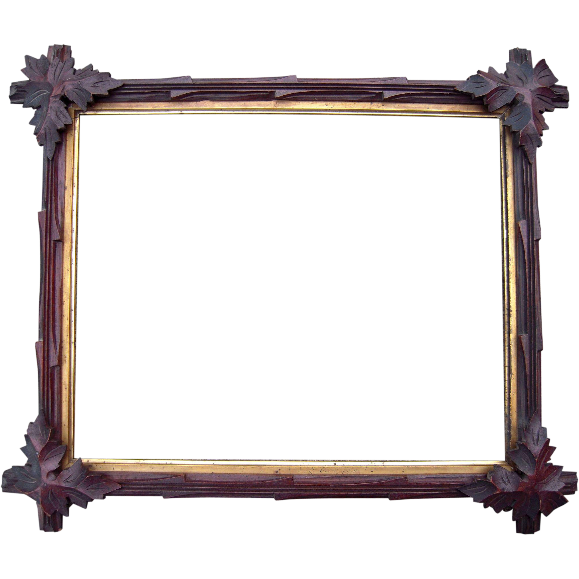 carved walnut picture frame w corner leaves 13 x 16 from