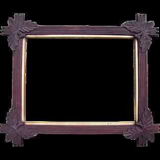 "Carved Walnut Picture Frame w/Corner Leaves 13"" x 17"""
