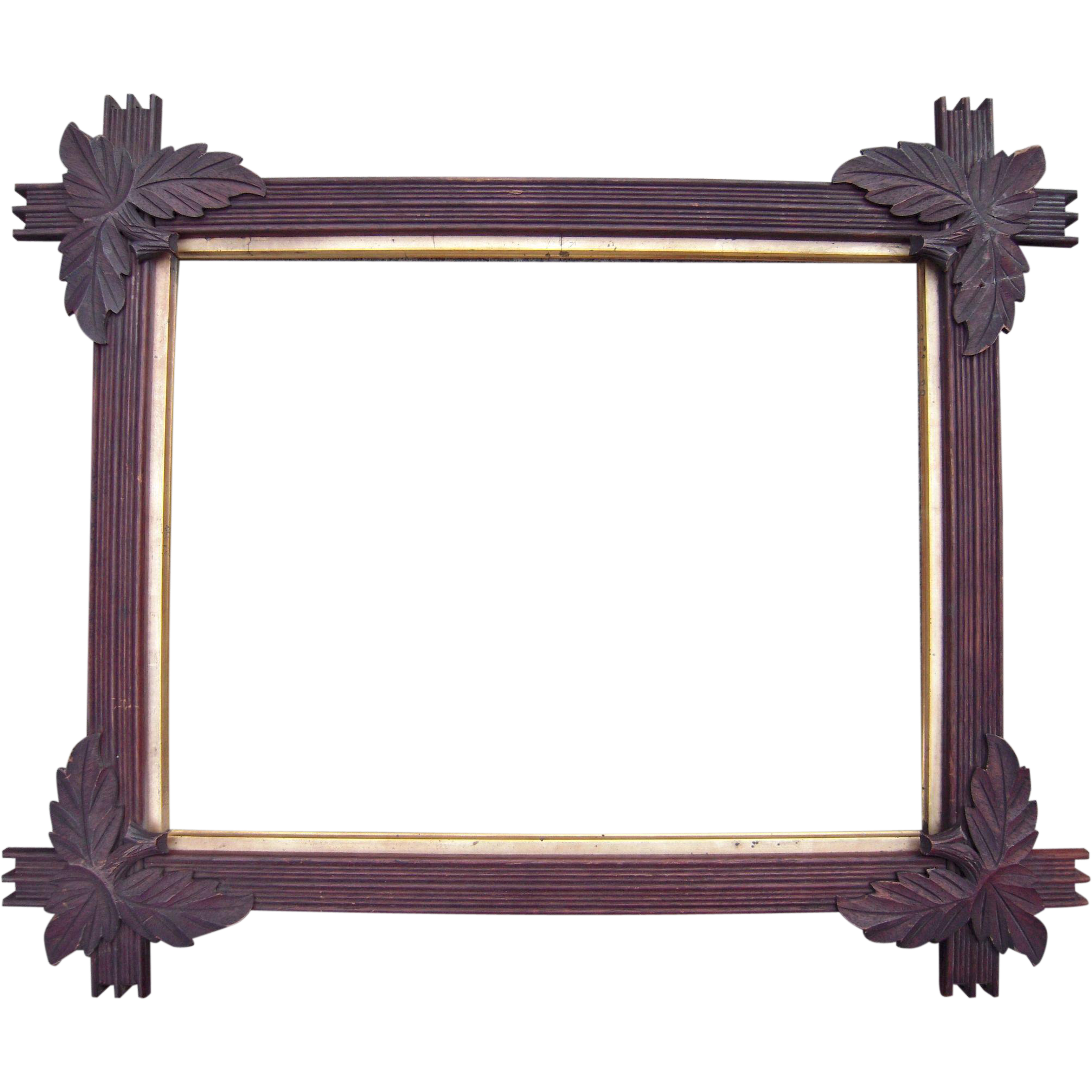 carved walnut picture frame w corner leaves 13 x 17 from