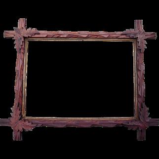 "Carved Walnut Picture Frame w/Corner Leaves 10"" x 14"" #1"