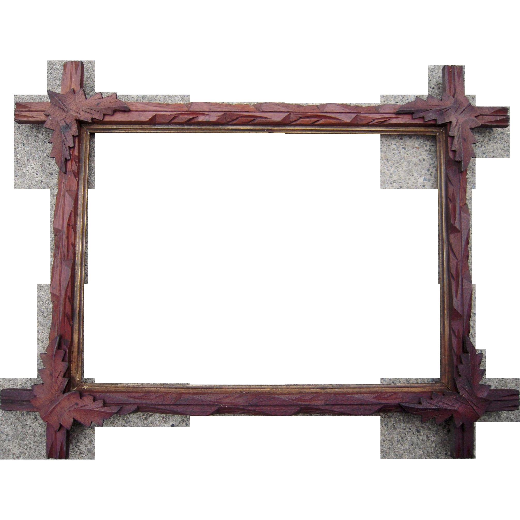 carved walnut picture frame w corner leaves 10 x 14 1 from bluesprucerugsandantiques on ruby lane. Black Bedroom Furniture Sets. Home Design Ideas
