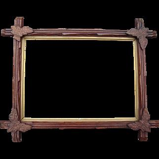 "Carved Walnut Picture Frame w/Corner Leaves 10"" x 14"" #2"
