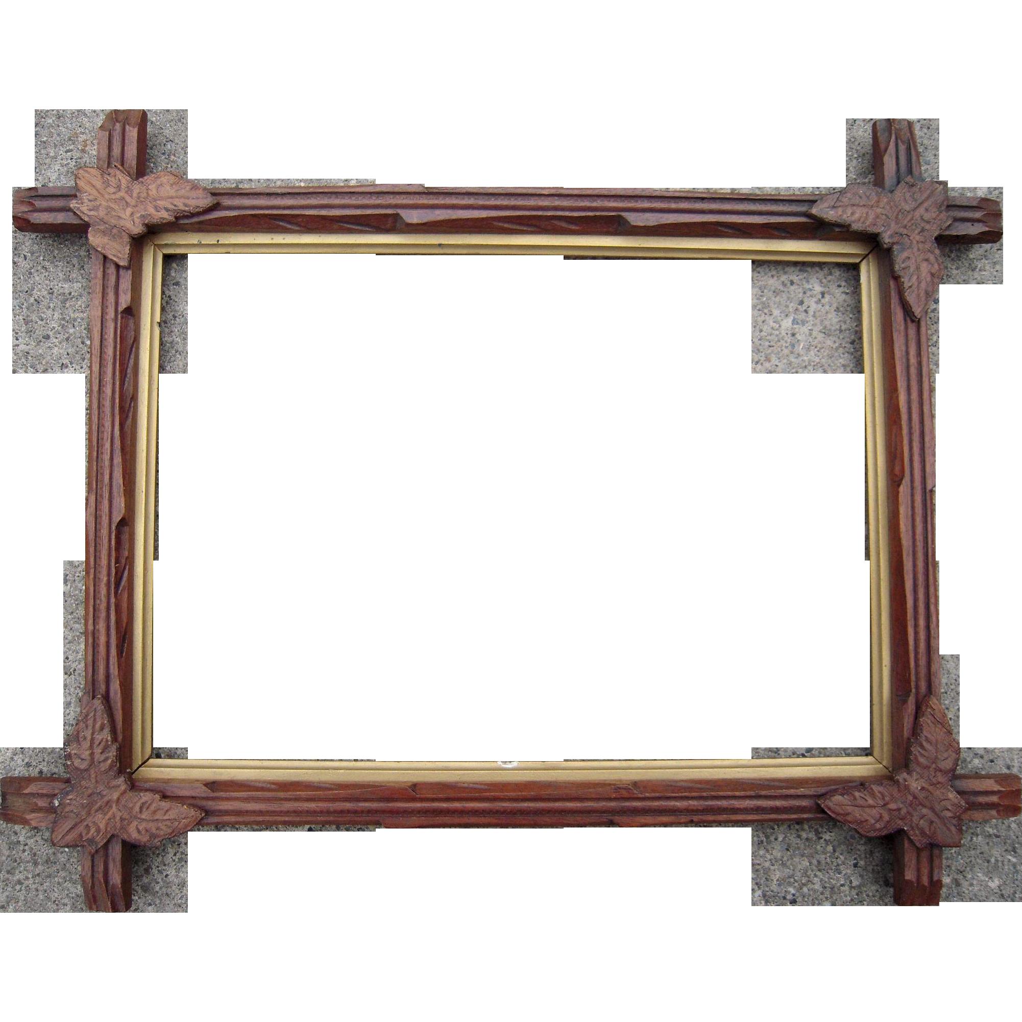 carved walnut picture frame w corner leaves 10 x 14 2 from bluesprucerugsandantiques on ruby lane. Black Bedroom Furniture Sets. Home Design Ideas