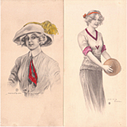 Pair 1913 Hand Colored Archie Gunn Illustrations of Young Women