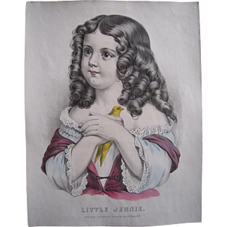 Currier & Ives Hand Colored Lithograph Little Jennie