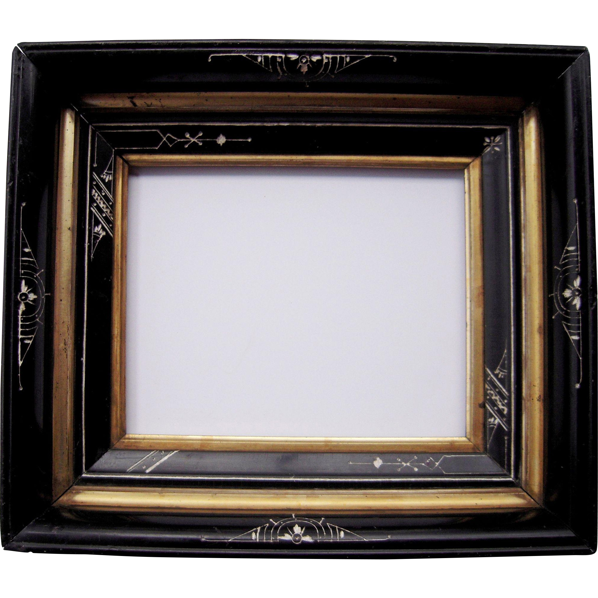 deep ebonized black eastlake picture frame 8 x 10 from bluesprucerugsandantiques on ruby lane. Black Bedroom Furniture Sets. Home Design Ideas