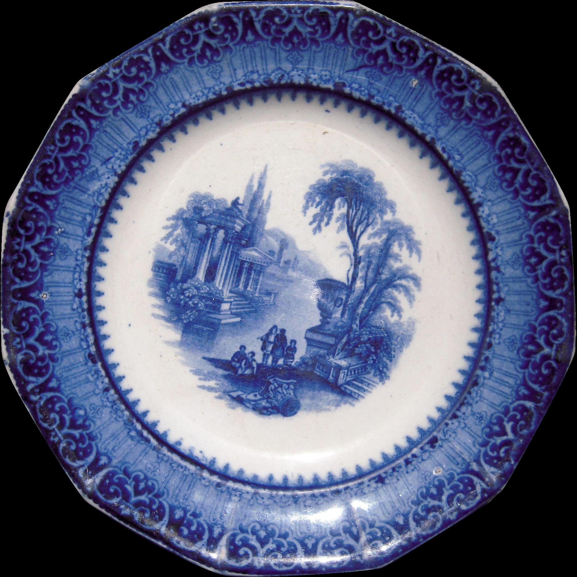 Flow blue plate quot temple from bluesprucerugsandantiques