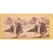 Stereoview Man Kissing Sea Lion at London Zoo
