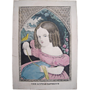 c1850 Hand Colored Lithograph The Little Favorite
