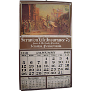 Large 1913 Insurance Advertising Calendar from Scranton, PA