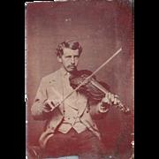Tintype of Man Playing Violin