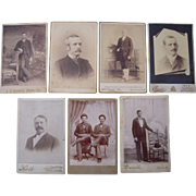 Lot of 7 Cabinet Card Photos of Victorian Men