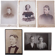 Lot 5 Cabinet Card Photos of Women, incl a c1850 woman