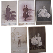 Lot 5 Cabinet Card Photos of Children, incl 110 Lb 8 Year Old Boy