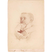 Postmortem Cabinet Card Photo of Baby