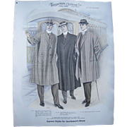 "Large 1910 Color Men's Fashion Plate ""At The Station"""
