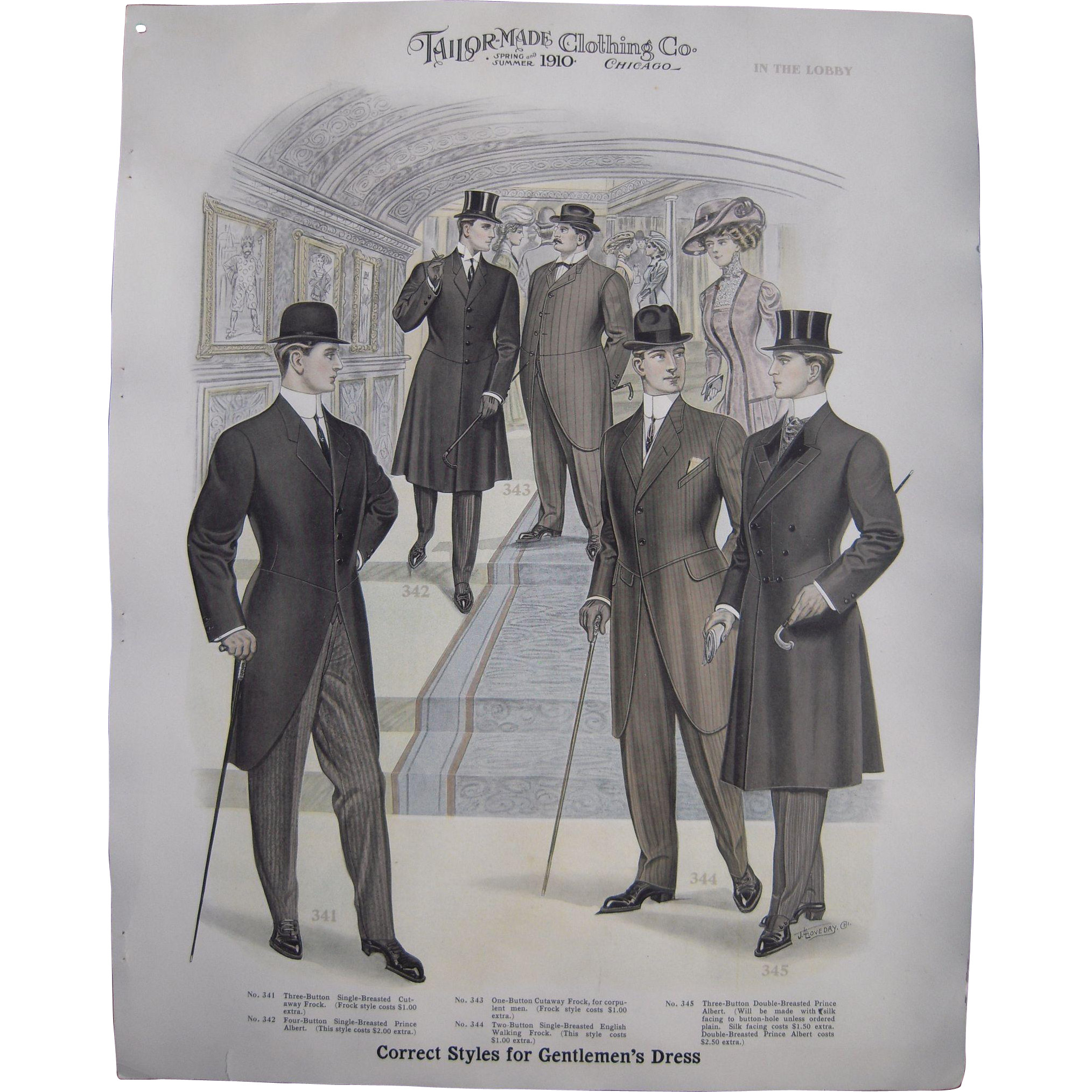 large 1910 mens fashion print quotin the lobbyquot from