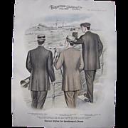 "Large 1910 Men's Fashion Print ""The Motor Boat Race"""